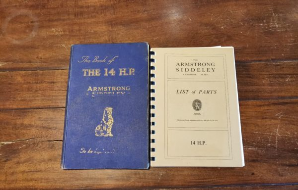 "Armstrong siddeley 14 HP ""List of parts"" and ""shop book"""
